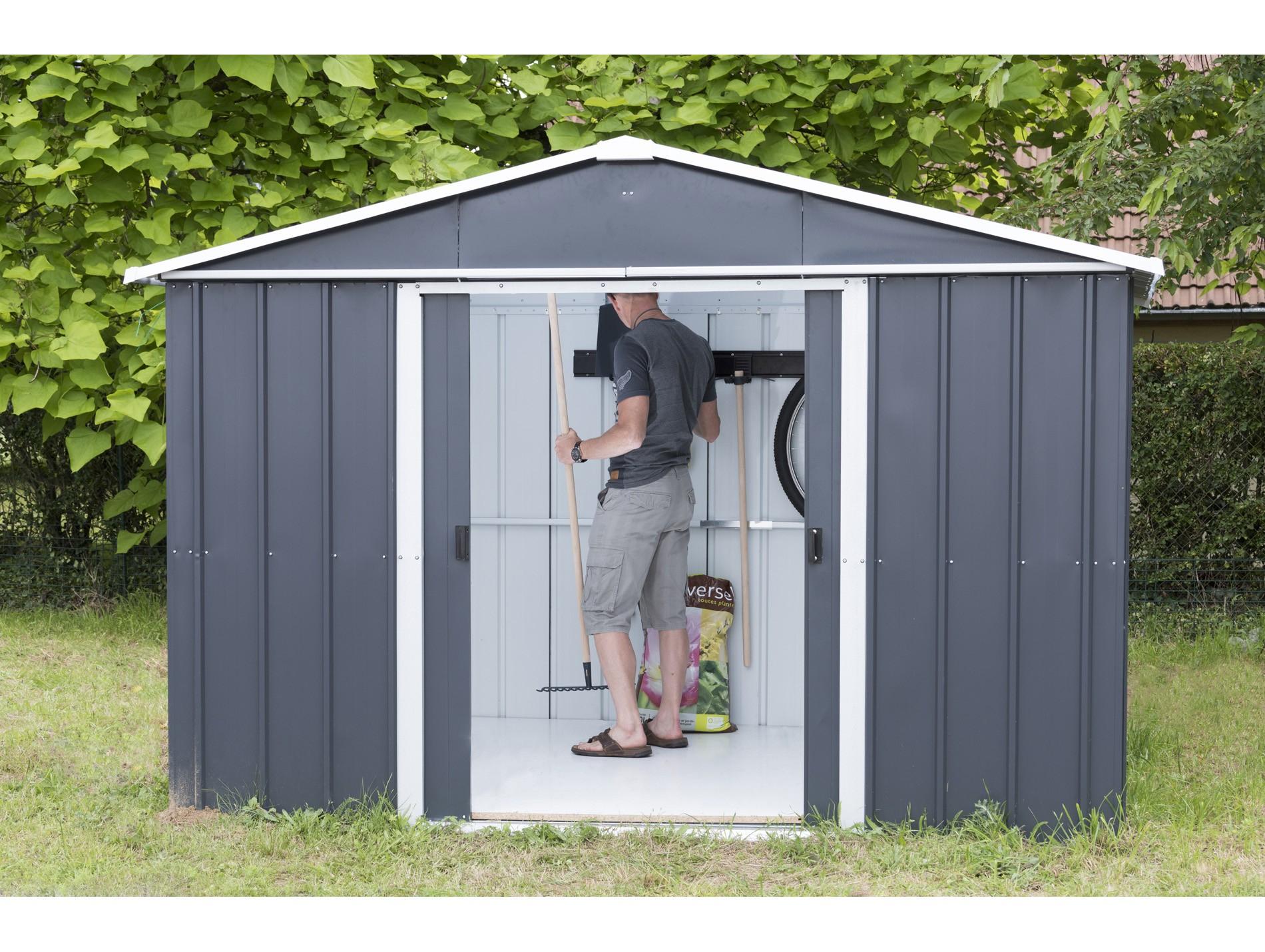 Abri De Jardin Métal Yardmaster Gris Anthracite 7,18 M² concernant Cabane De Jardin En Tole