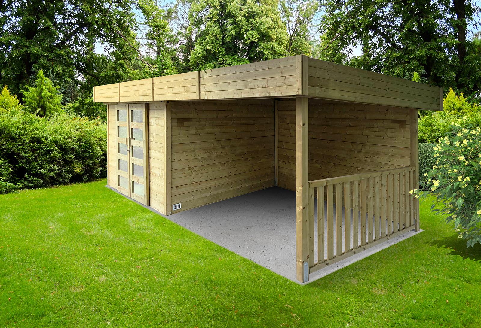 Abri De Jardin Moderne Arhus 28 Mm 3,3 + 3,17 X 2,45 M Solid - Mr.bricolage serapportantà Abri De Jardin Bois Monsieur Bricolage