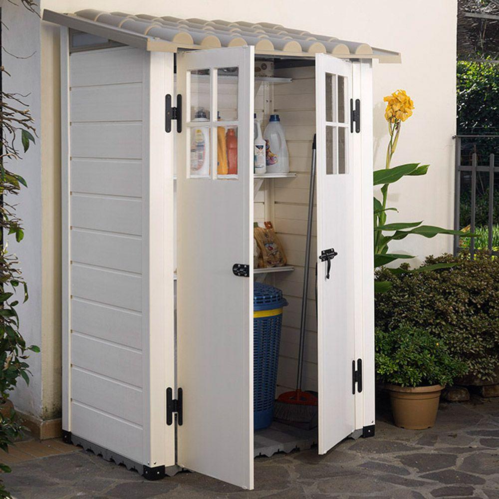 Abri De Jardin Résine Adossable Evo 100 - 1,32 M² Ep. 22 Mm serapportantà Abris De Jardin Adossable