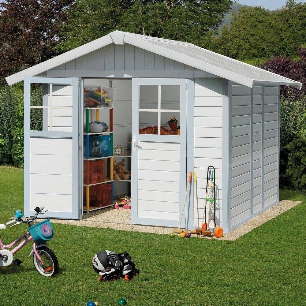 Abri De Jardin Résine Grosfillex 4,90 M² Ep.26 Mm Deco Gris/bleu encequiconcerne Cabane De Jardin Resine