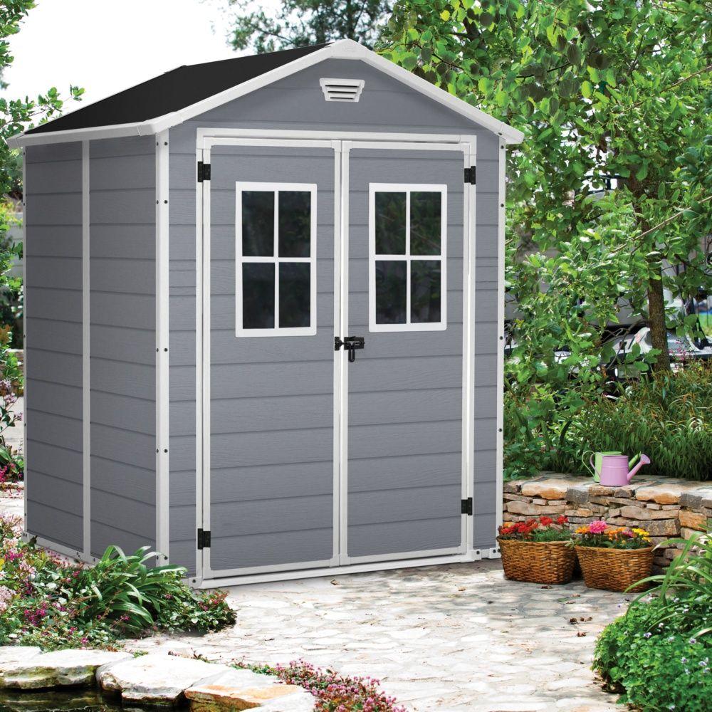 Abri De Jardin Résine Keter Premium 65 Gris 2,81 M² Ep. 16 Mm concernant Abri De Jardin Gris Anthracite