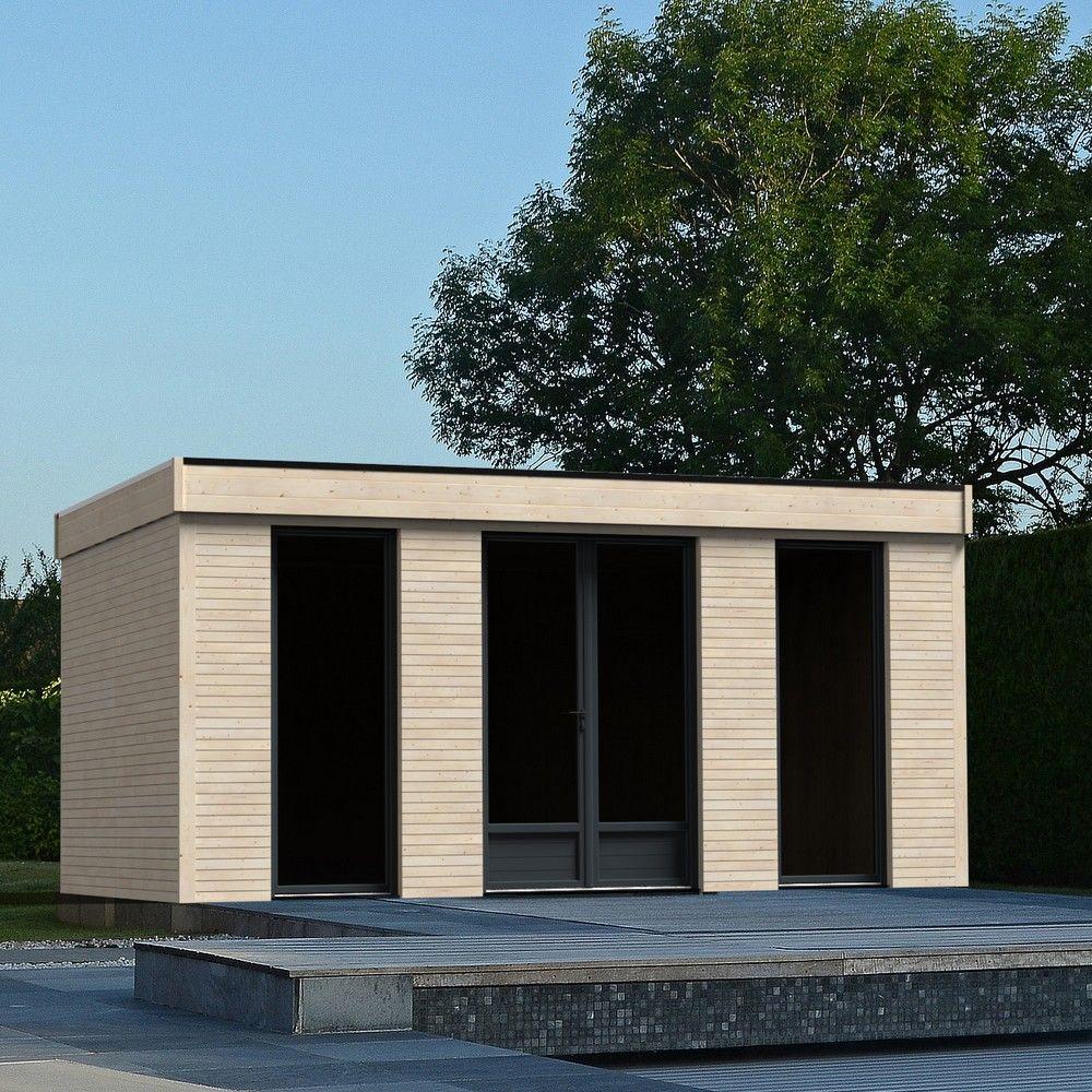 Abri De Jardin Semi Habitable Toit Plat Décor Home 18,14 M² Ep. 90 Mm encequiconcerne Abri De Jardin Metal 15M2