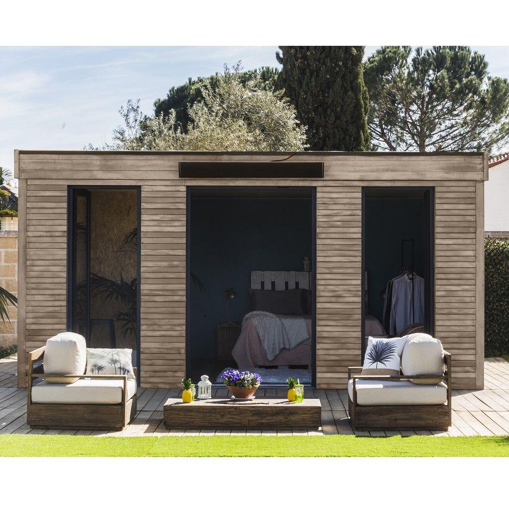 Abri De Jardin Semi Habitable Toit Plat Décor Home 24,70 M² Ep. 90 Mm avec Studio De Jardin Habitable