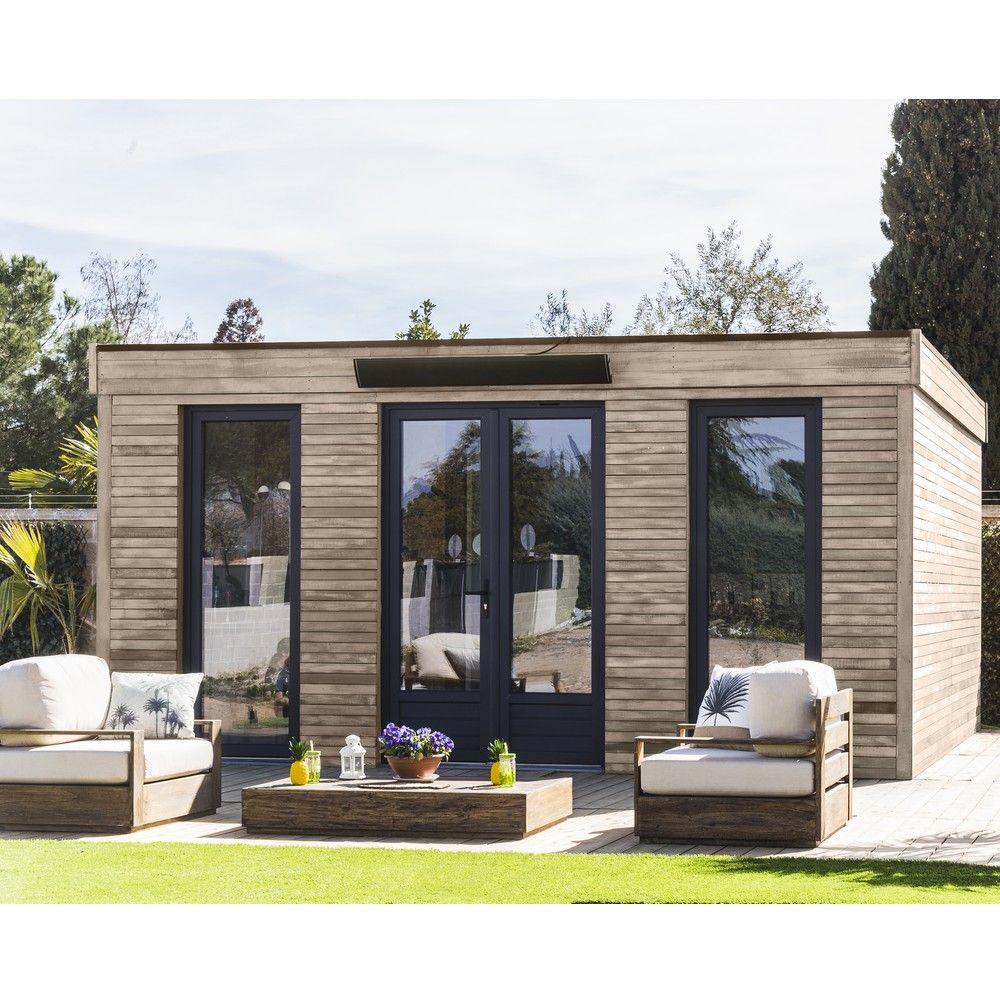 Abri De Jardin Semi Habitable Toit Plat Décor Home 24,70 M² Ep. 90 Mm pour Chalet De Jardin En Bois Habitable