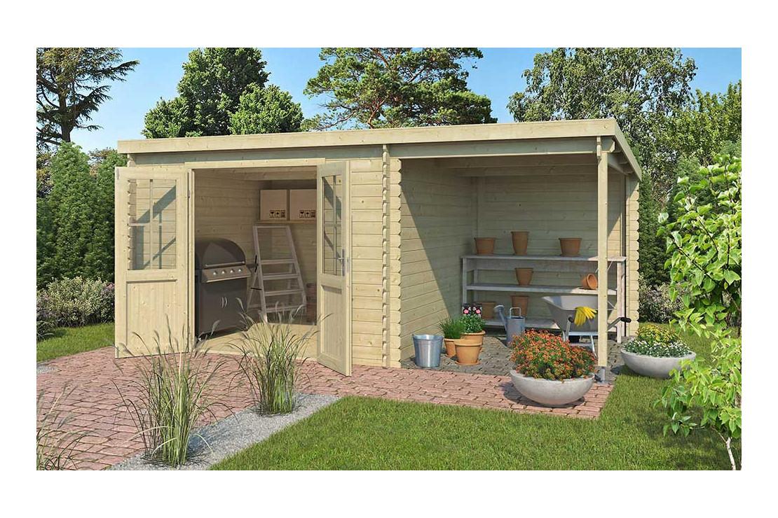Abri De Jardin Tampa 34Mm - 8,13M² Intérieur + Préau 5.29M² tout Abrie De Jardin