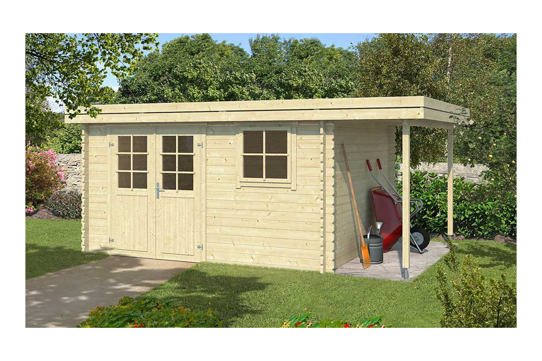 Abri De Jardin Toit Plat Avec Appentis Nevers 34Mm - 10,36M² Intérieur destiné Appenti De Jardin