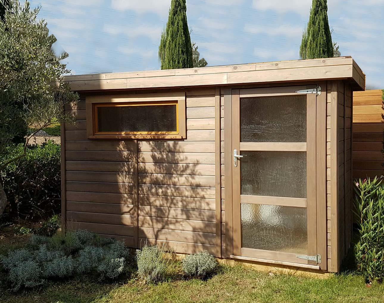 Abri De Jardin Toit Plat Avec Débord De -5M2 À 20M² Cancale pour Abri De Jardin En Bois 5M2
