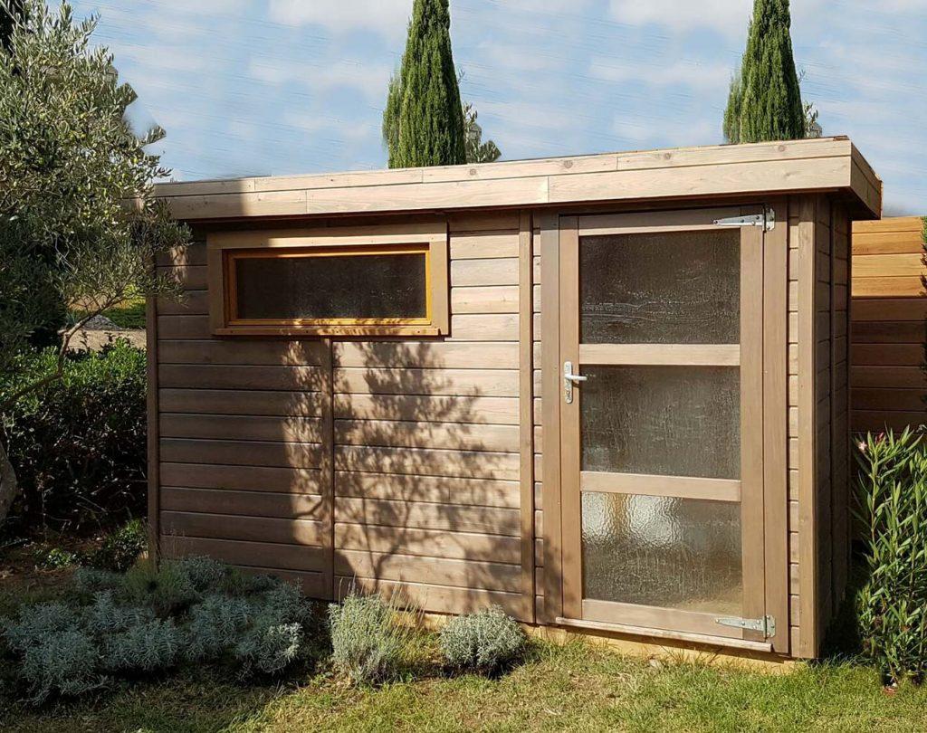 Abri De Jardin Toit Plat Avec Débord De -5M2 À 20M² Cancale tout Abri De Jardin En Cedre