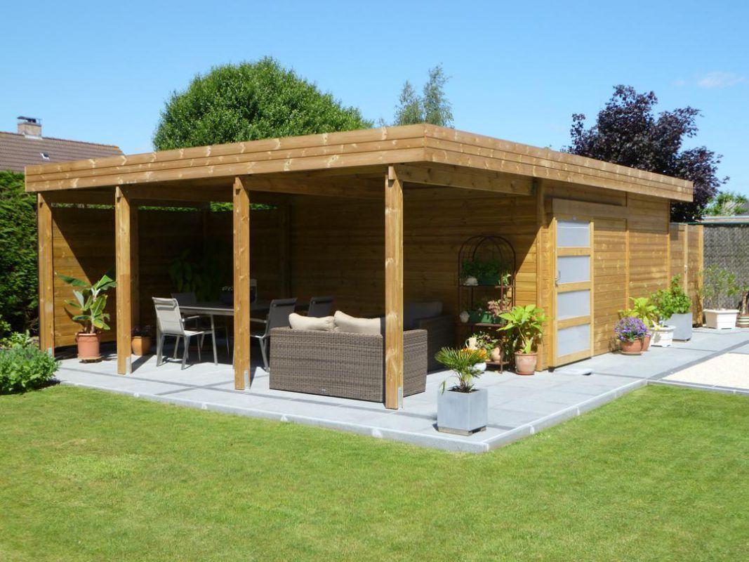 Abri De Jardin Toit Plat En Bois Avec Terrasse | Abri De ... avec Abri De Jardin Bois Sur Mesure
