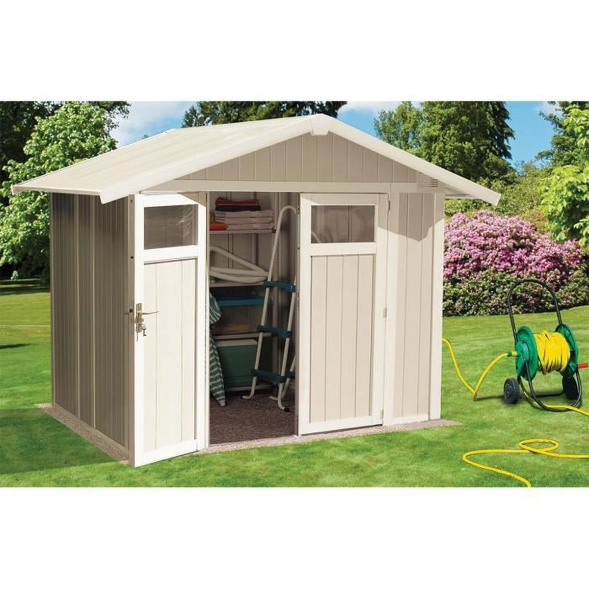 Abri De Jardin Utility 4,9 Blanc/gris Vert - 4.9 M² + Kit D ... tout Abri De Jardin Cdiscount