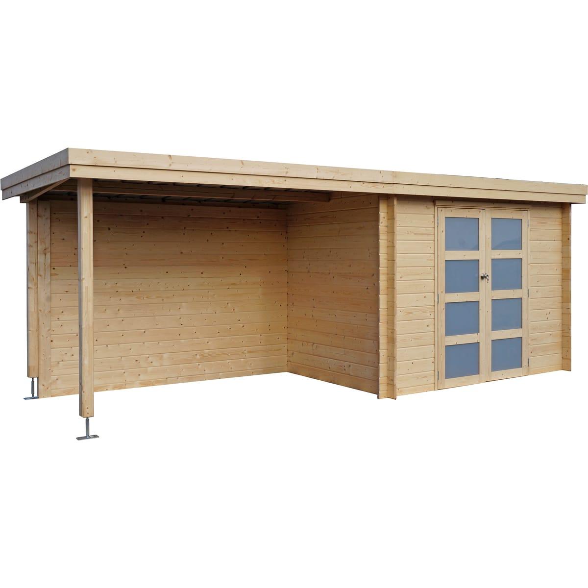 Abri Jardin Bois Apetina / Toit Plat Avec Auvent / 15.44 M² destiné Abris De Jardin Auchan