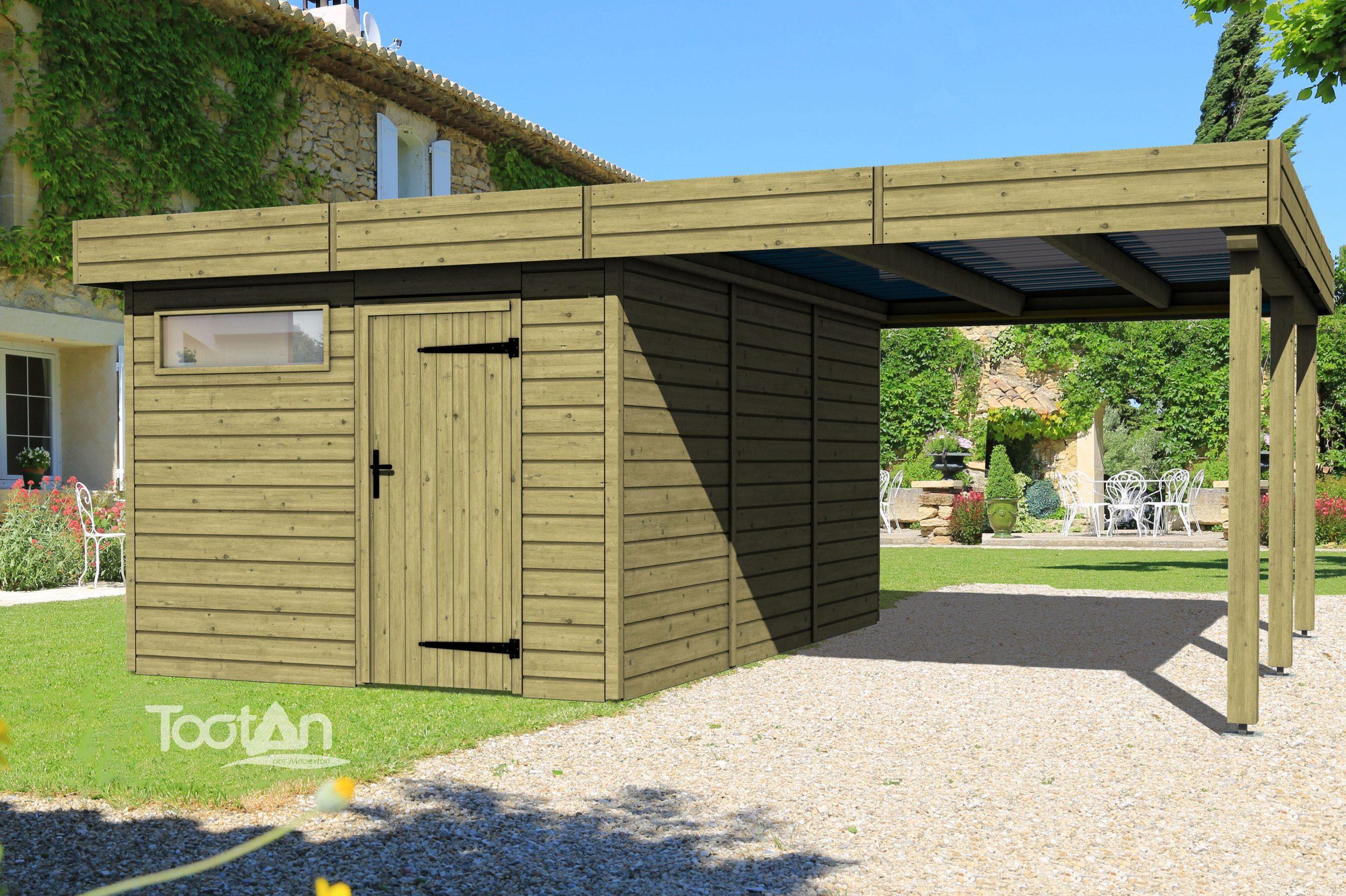 Abris De Jardin - Abri Toit Plat + Carport | Tootan (Avec ... encequiconcerne Abri De Jardin Vannes