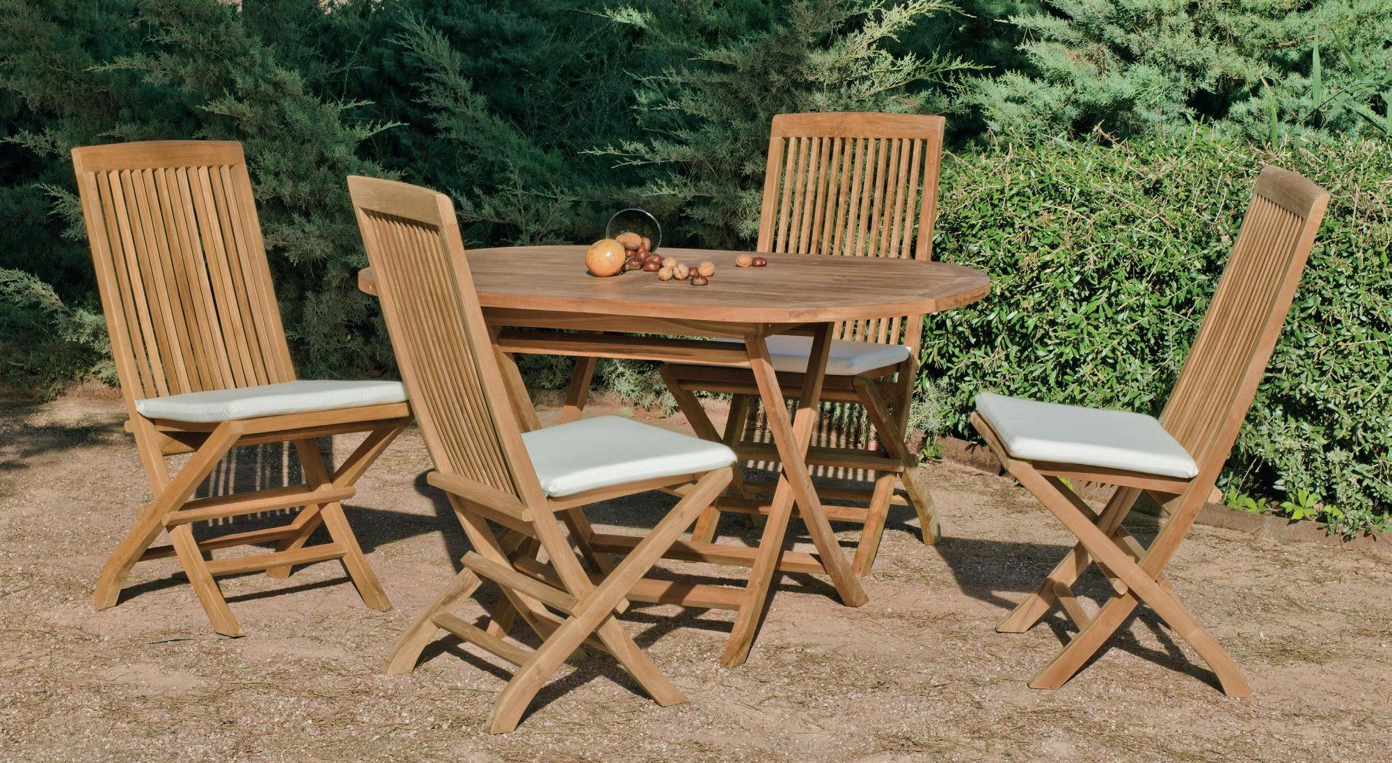 Achat Vente Salon De Jardin Bois Teck Table 140Cm + 4 ... avec Salon De Jardin En Teck Pas Cher