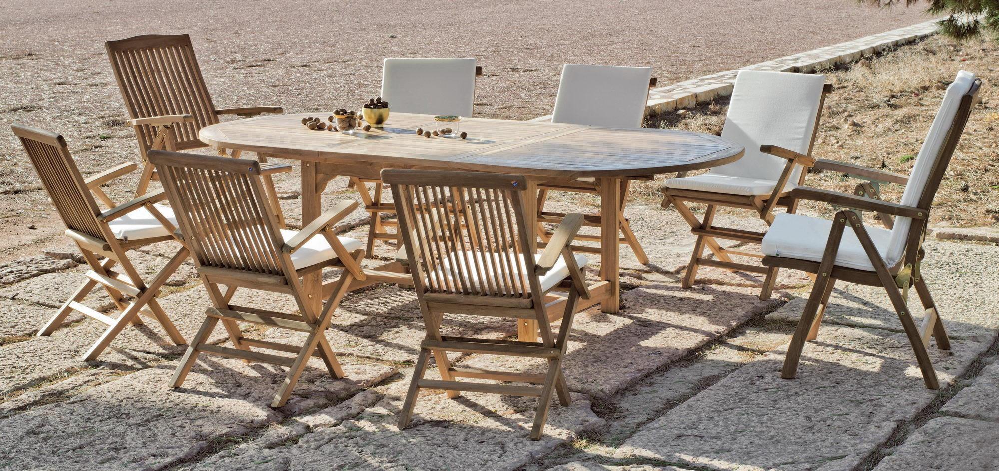 Achat Vente Salon De Jardin Bois Teck Table Ext 180-240Cm + ... avec Salon De Jardin En Teck Pas Cher