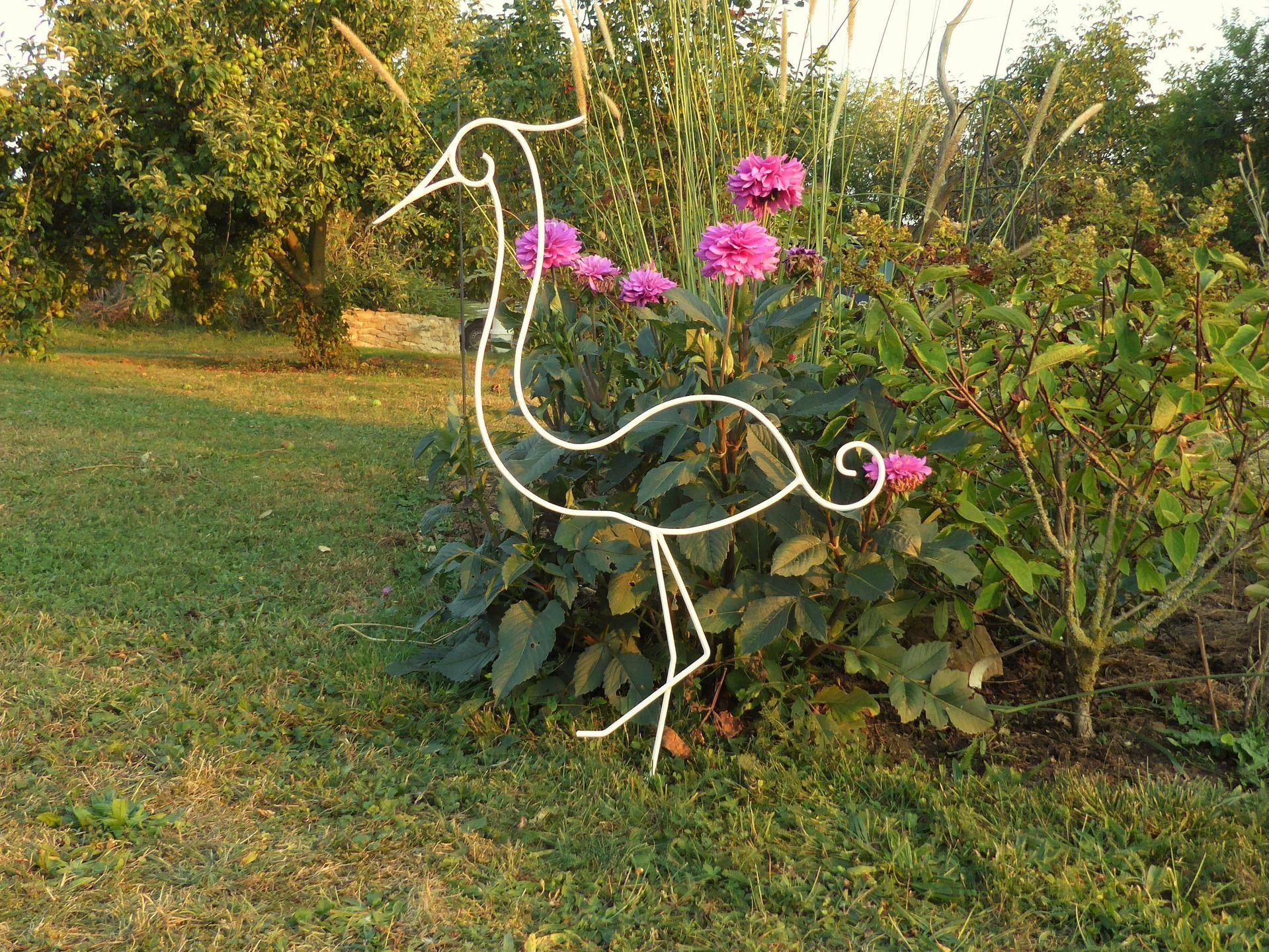 Aigrette En Fer Forgé Pour Décoration De Jardin ( Modèle ... encequiconcerne Decoration De Jardin En Fer Forgé