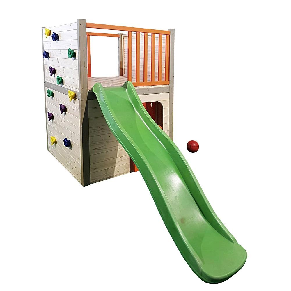Aire De Jeux 4 En 1 Toboggan Plateforme Escalade Panier De Basket encequiconcerne Mur D Escalade Pour Jardin