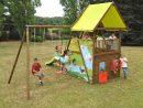 Aire De Jeux En Bois Pour Enfant - 4 Agrès + Maisonnette ... avec Jeux De Jardin En Bois