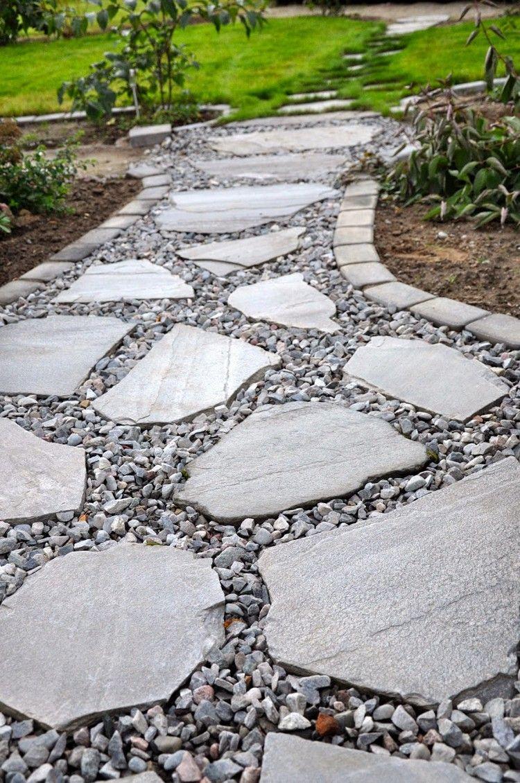 Allée Jardin En Gravier, Ardoise Et Bois –Créer Une Allée ... concernant Allée De Jardin En Bois