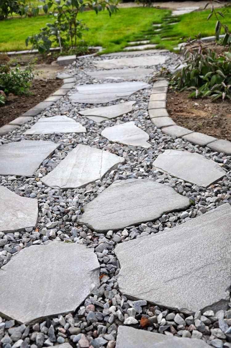 Allée Jardin En Gravier, Ardoise Et Bois –Créer Une Allée ... destiné Dalle Ardoise Jardin