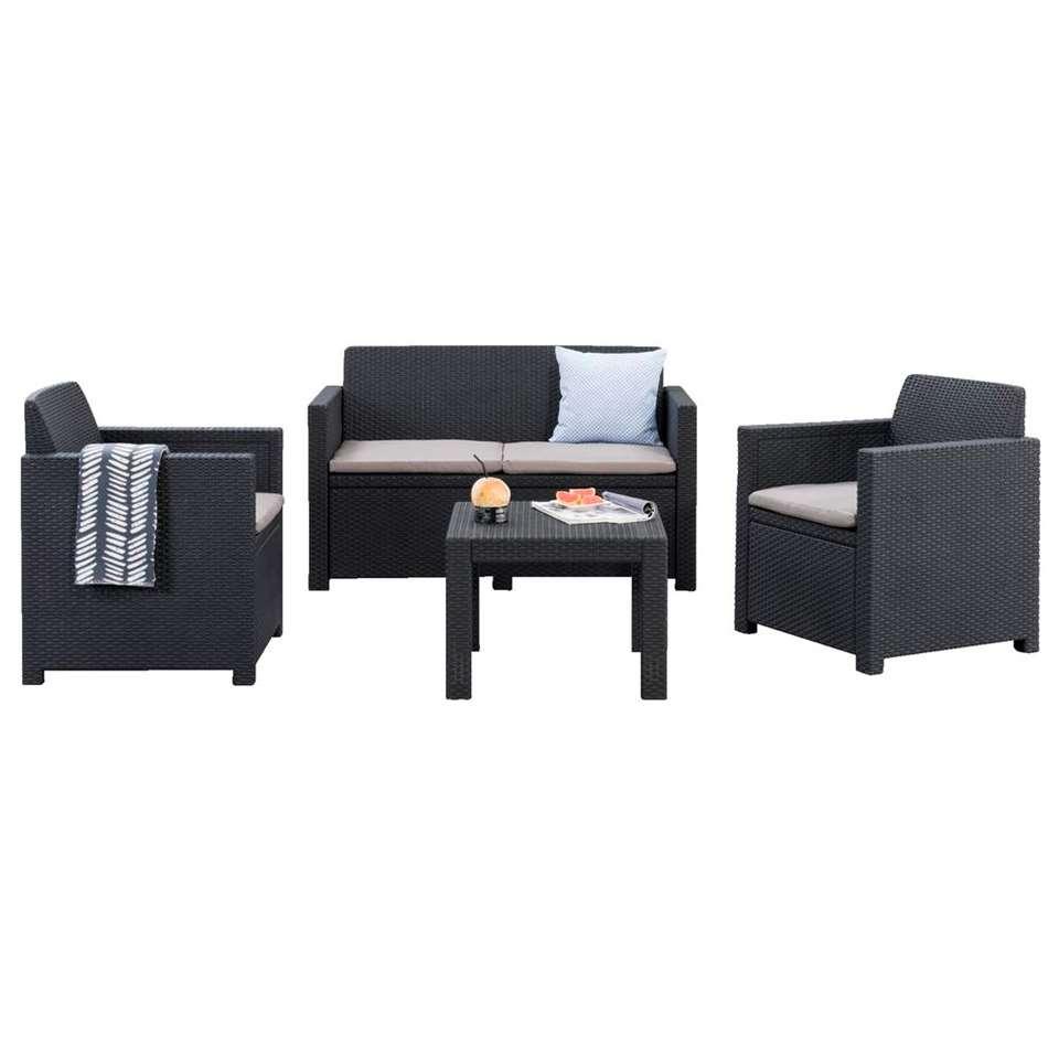 Allibert Salon Lounge Messina - Gris - 4 Pièces (Coussins Inclus) à Salon De Jardin Alibert