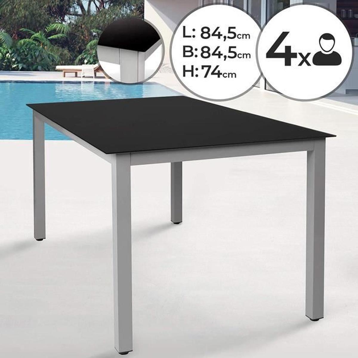Aluminium Table De Jardin   85X85X74Cm, 4 Personnes, Avec Un ... intérieur Table De Jardin Aluminium Et Verre