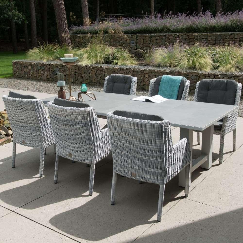 Amalfi Fauteuil De Table De Jardin En Résine Tressée + Coussins destiné Table Et Chaise De Jardin En Resine Tressee