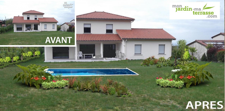 Aménagement De Jardin Avant/après | Monjardin-Materrasse encequiconcerne Exemple D Aménagement De Jardin