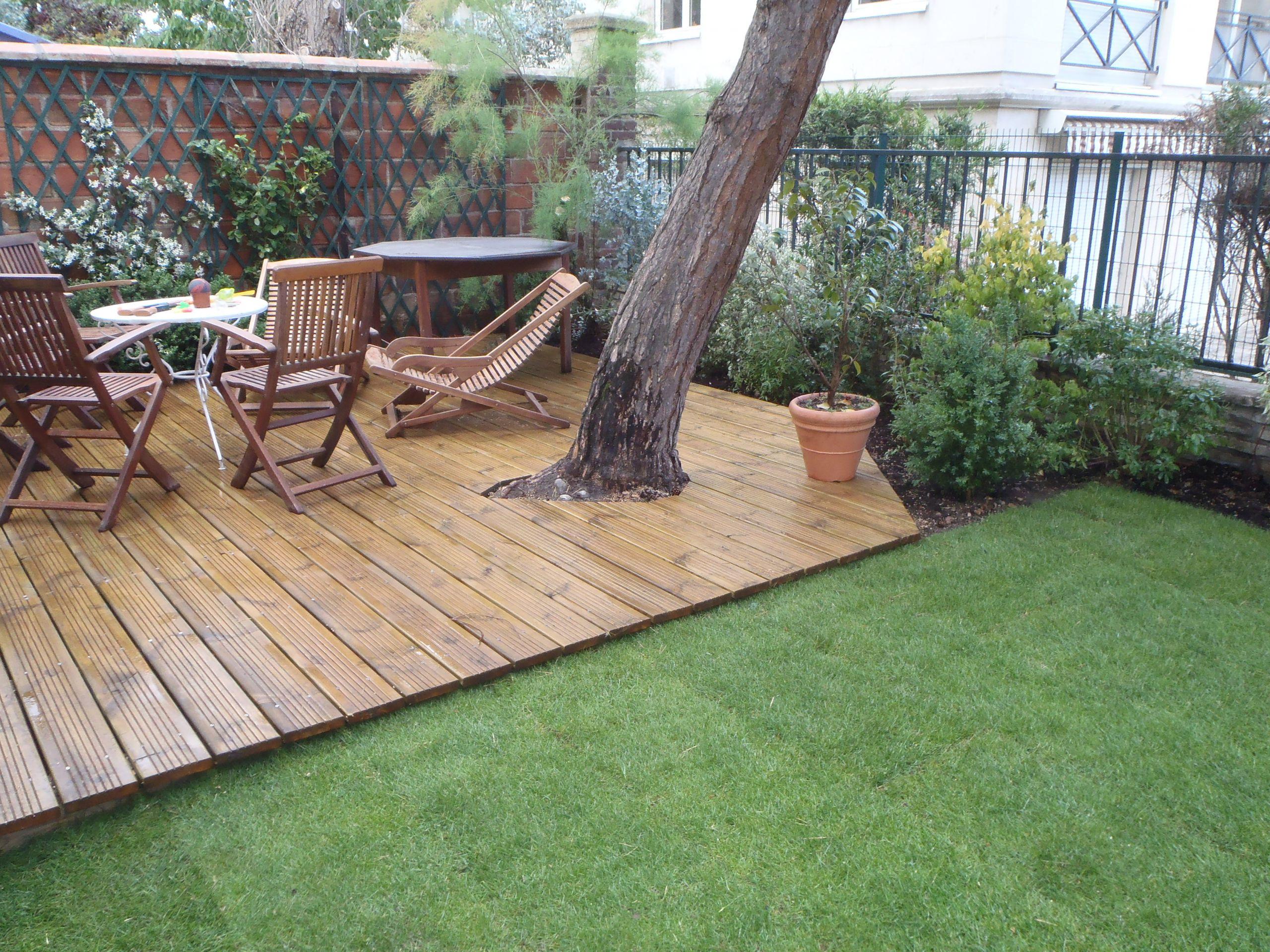 Amenagement Terrasse Bois Jardin Schème - Idees Conception ... dedans Aménagement Jardin Avec Spa