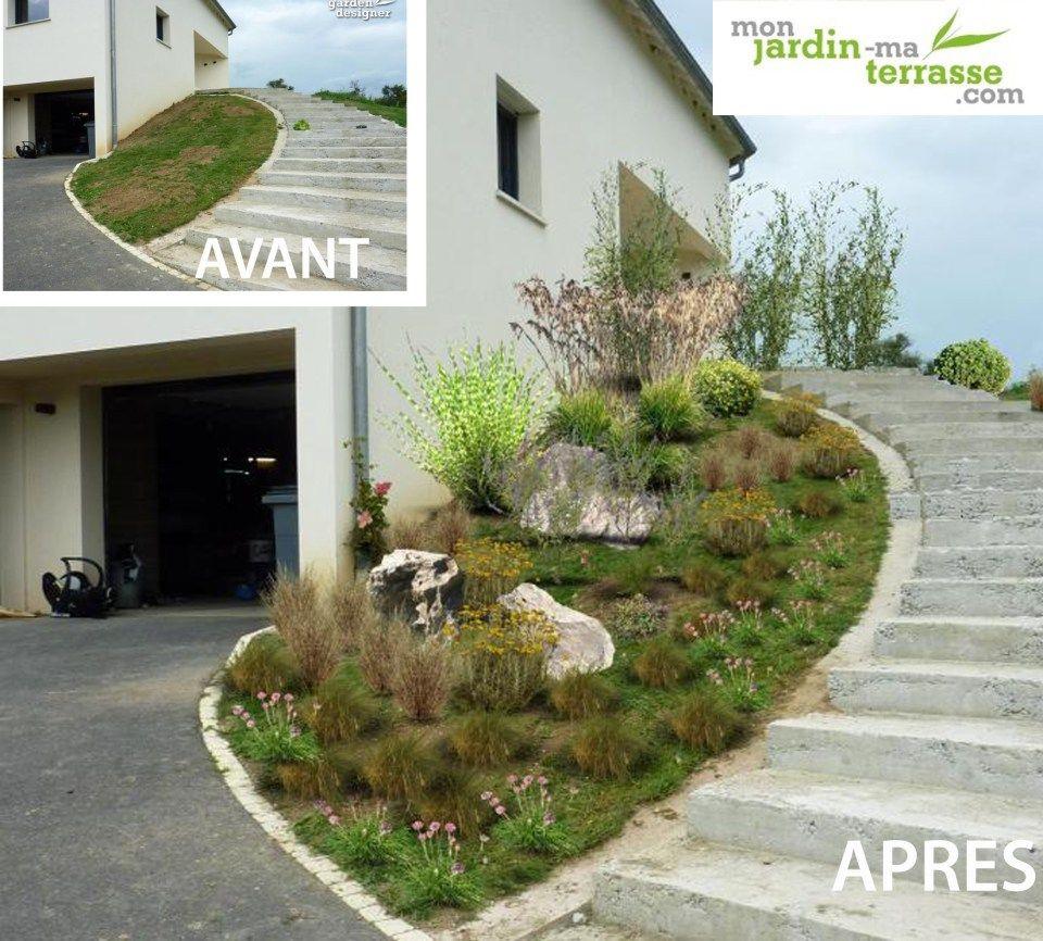 Aménager Entrée Jardin Pente   Jardin En Pente, Amenagement ... destiné Comment Aménager Son Jardin Devant La Maison
