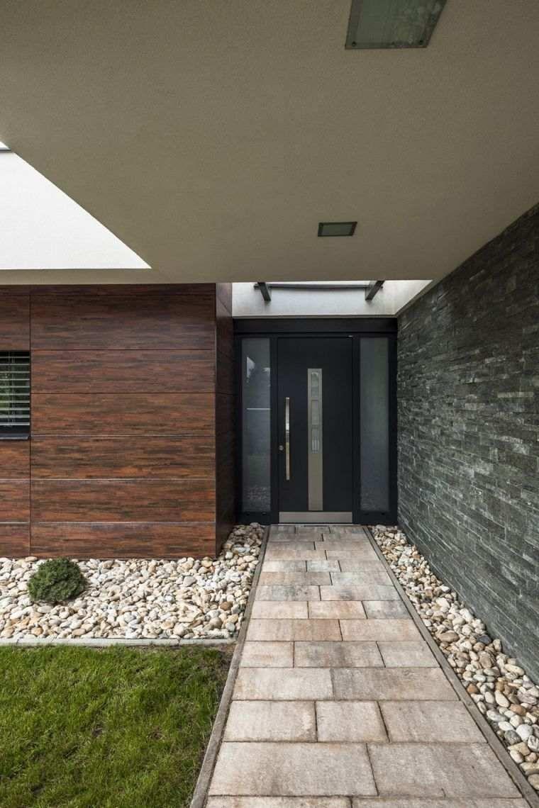 Aménager Une Entrée De Maison Avec Extérieur Contemporain ... avec Aménagement Entrée Jardin