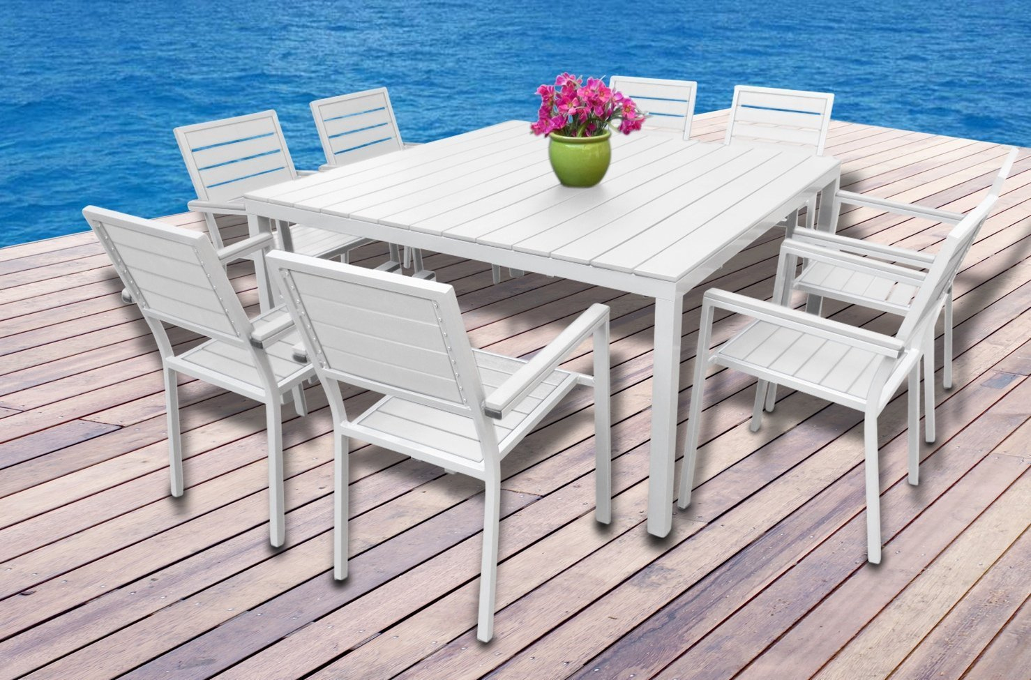 Angela High Quality Villa Poly Wood Dining Set Teak Wood Dining Table And  Chair,wood Plastic Composite Outdoor Furniture - Buy Composite Outdoor ... à Salon De Jardin Polywood