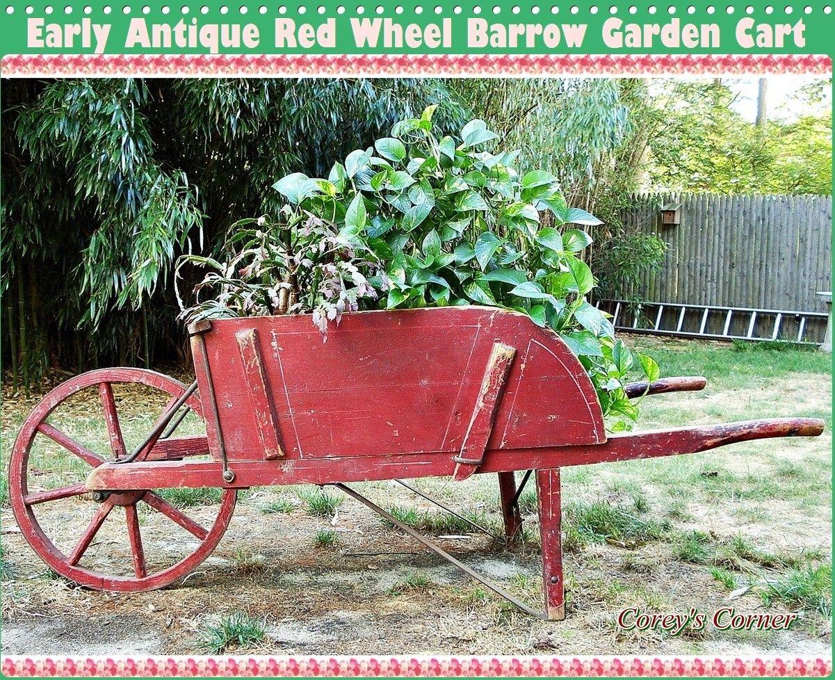 Antique Red Wheel Barrow Garden Cart   Idées Jardin ... à Charette Jardin