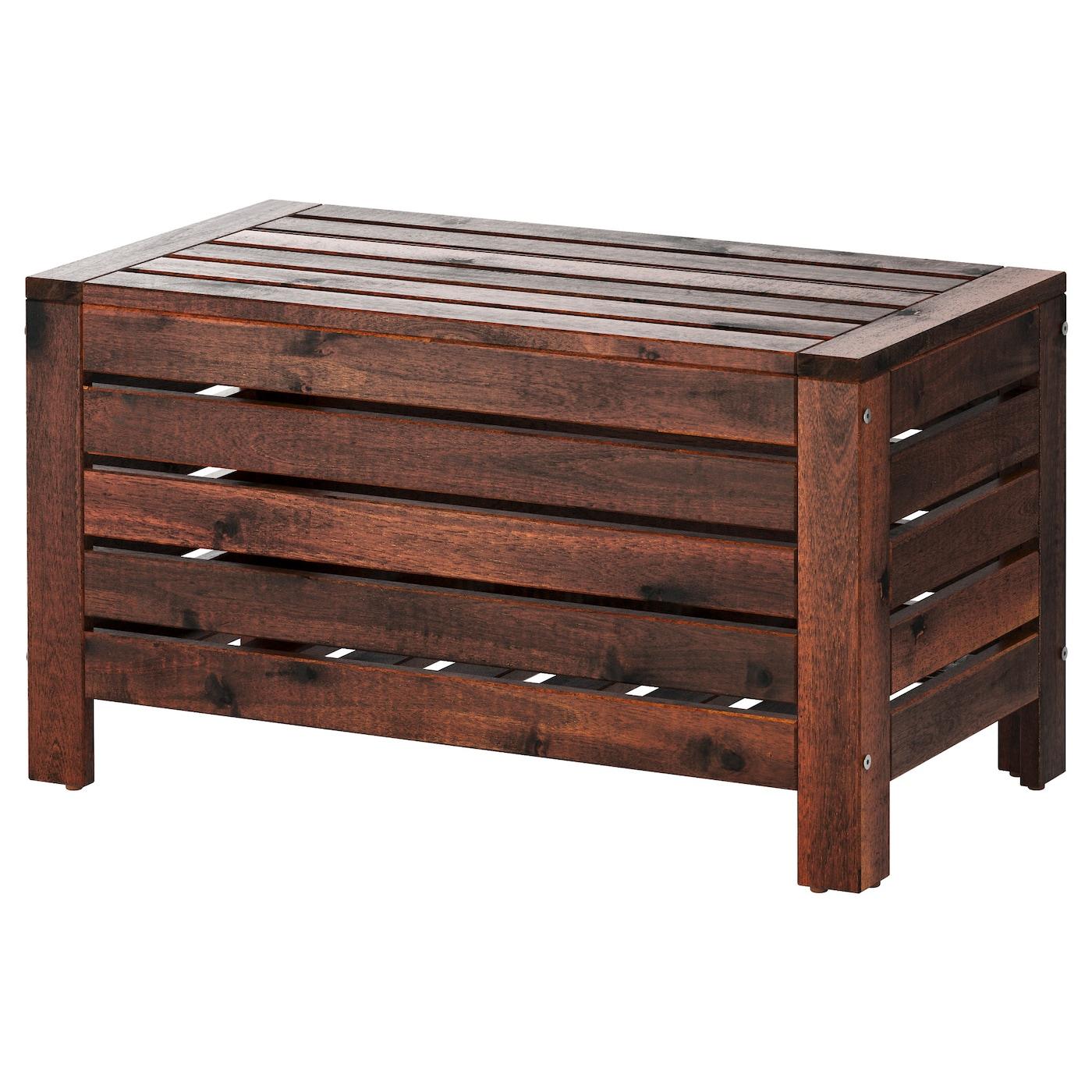 Äpplarö Banc Rangement, Extérieur - Brun Teinté Brun 80X41 Cm tout Banc Coffre Jardin Ikea