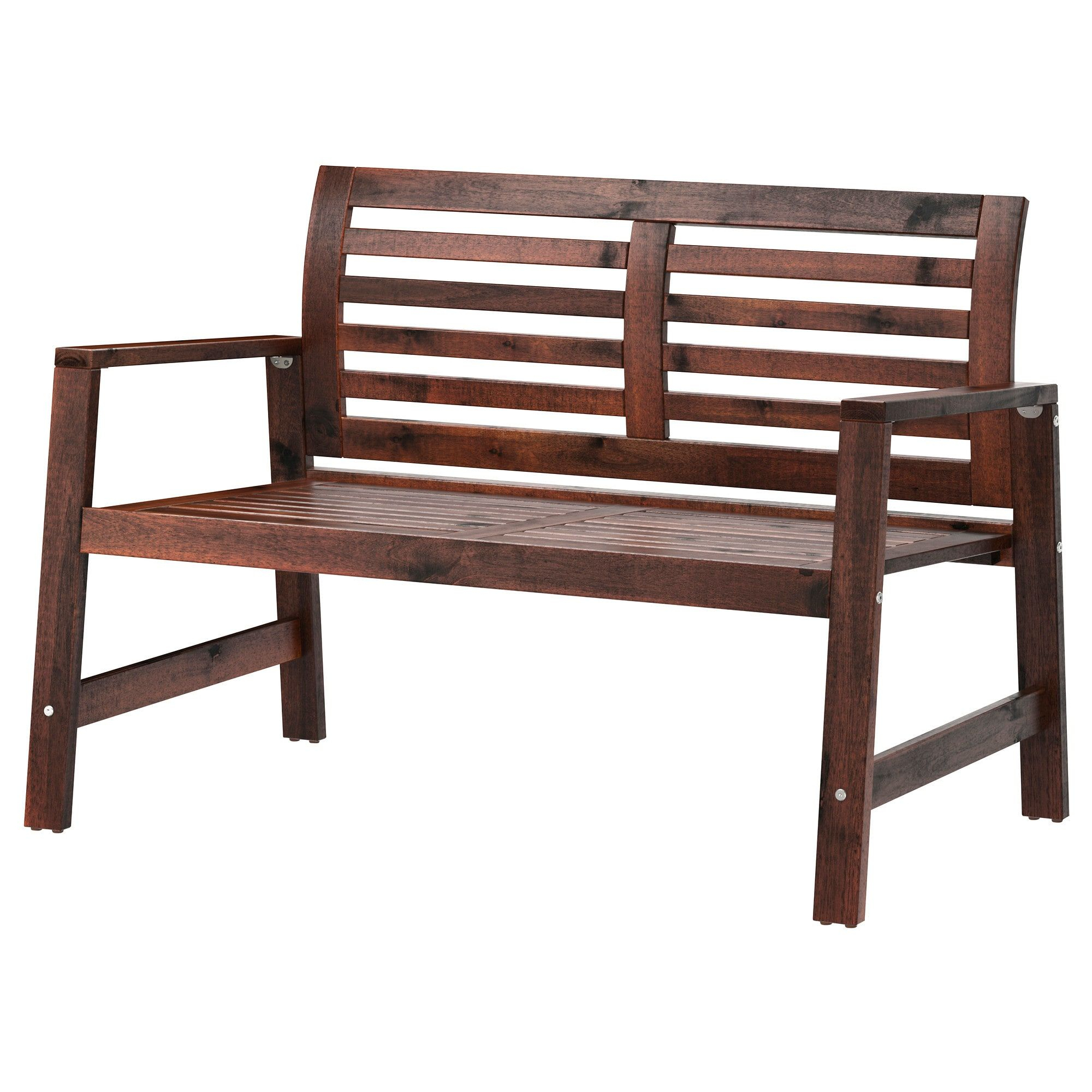 Äpplarö Bench With Backrest, Outdoor - Brown Stained Brown ... dedans Banc De Jardin Ikea