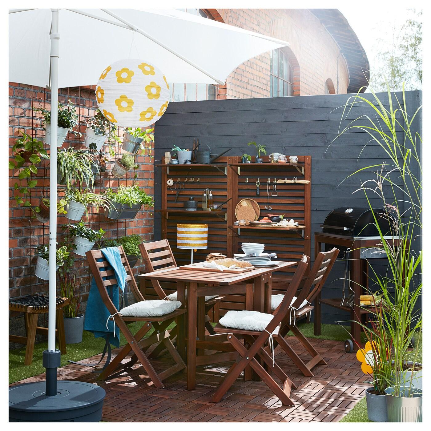 Äpplarö Gateleg Table, Outdoor - Brown Brown Stained 20/77/133X62 Cm dedans Desserte Jardin Ikea