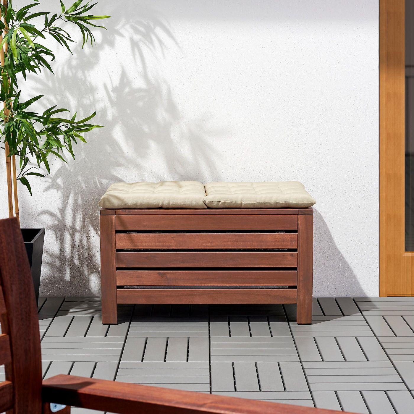 Äpplarö Storage Bench, Outdoor - Brown Stained Brown 31 1 ... dedans Coffre Jardin Ikea