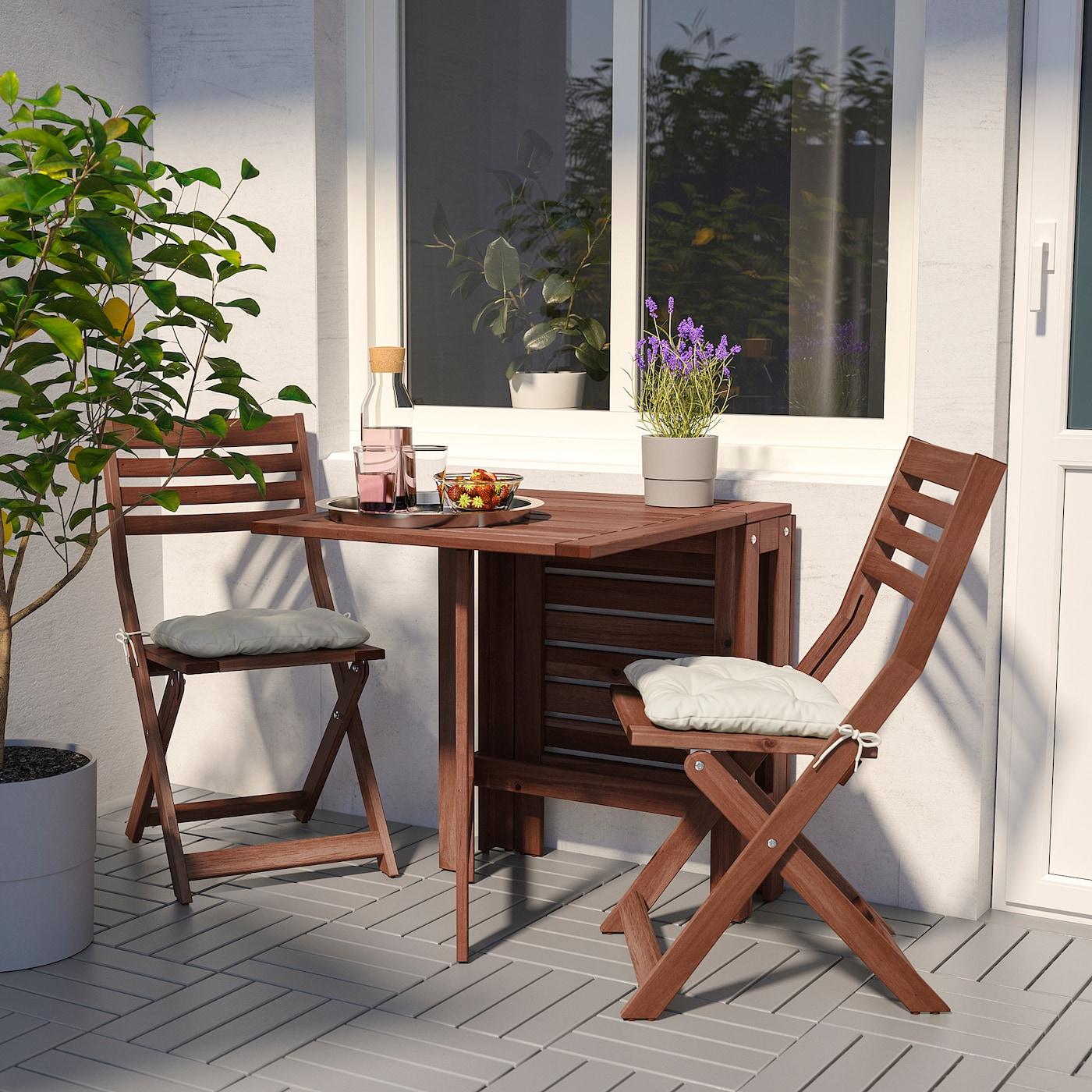 Äpplarö Table Pliante, Extérieur - Brun Teinté Brun 20/77/133X62 Cm dedans Mobilier De Jardin Ikea