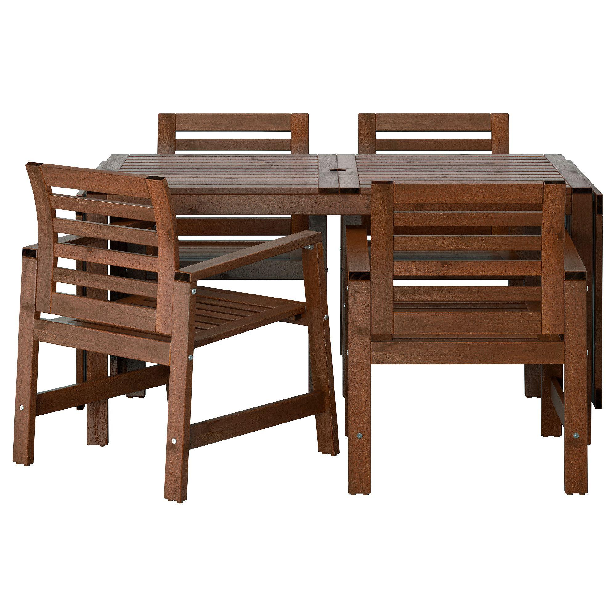 Äpplarö Table+4 Chaises Accoud, Extérieur - Teinté Brun ... dedans Siege Jardin Ikea