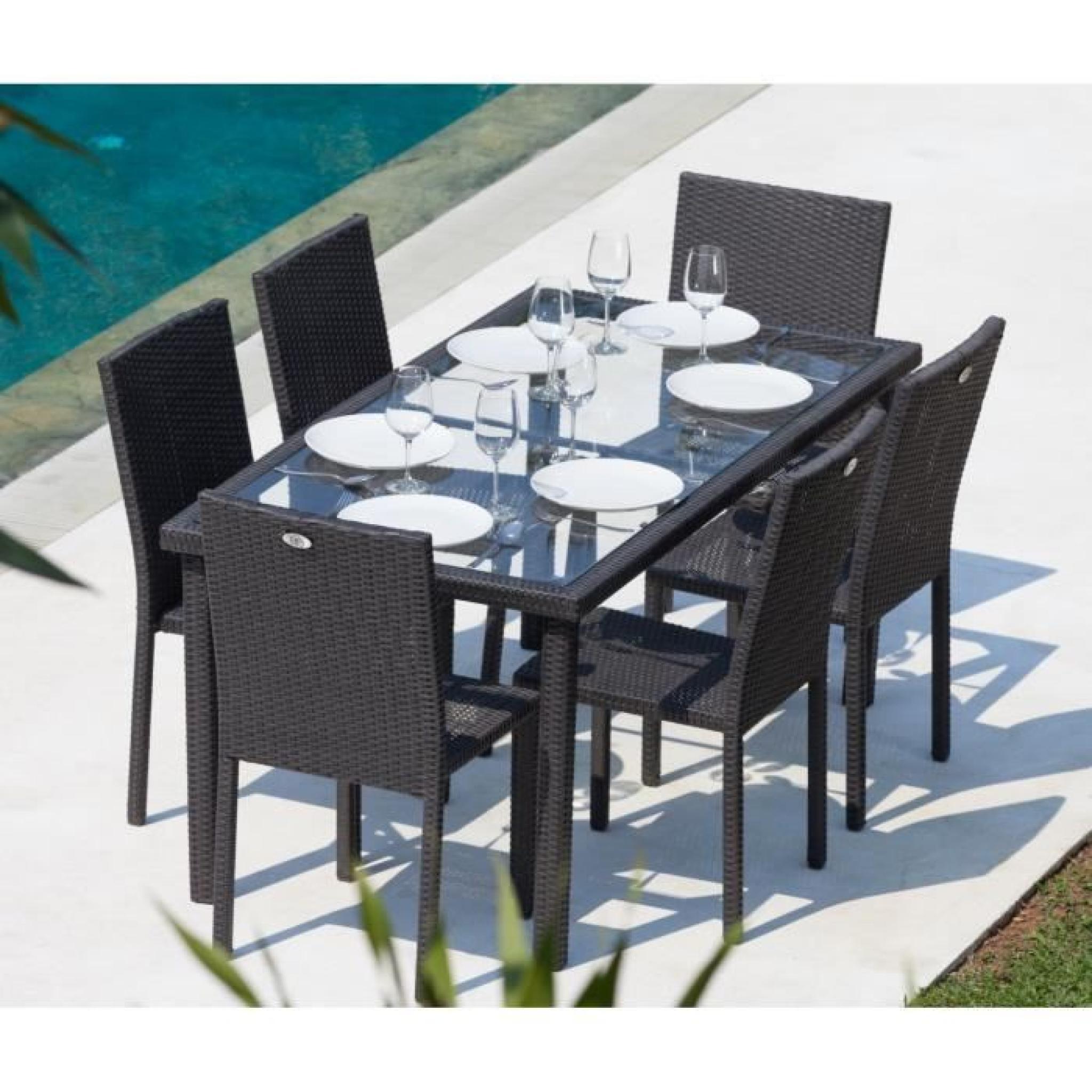 Arcachon Ensemble Table De Jardin 6 Places Acier Et Résine Tressée - Noir encequiconcerne Ensemble Table Et Chaise De Jardin En Resine Pas Cher