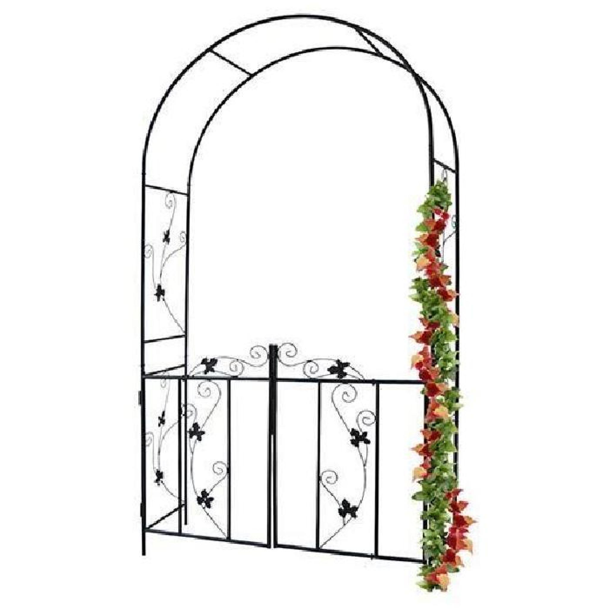 Arche À Rosiers De Jardin - Avec Portillon - 110 X 214 X 38 Cm - En Acier tout Arche De Jardin Pas Cher