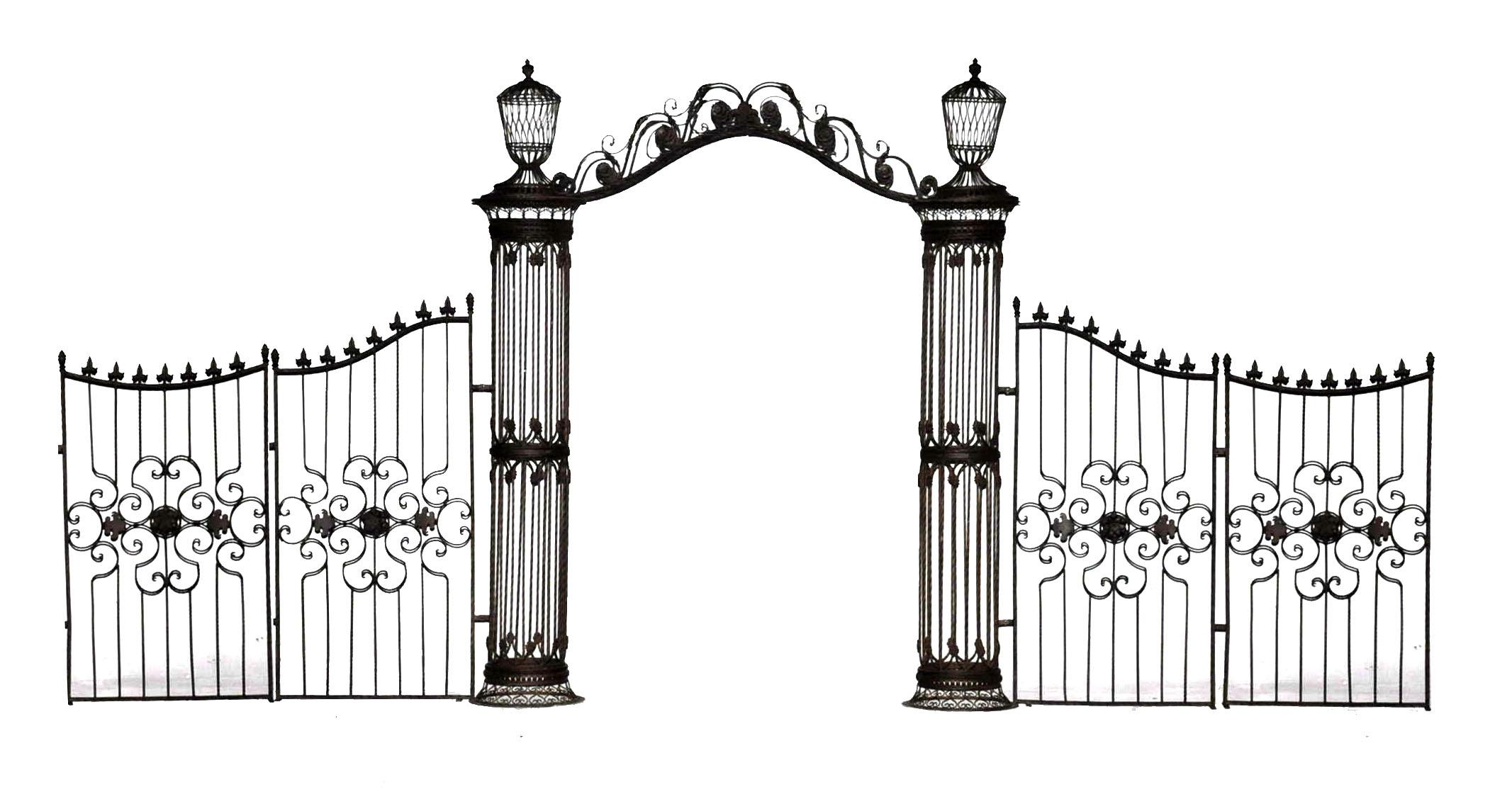 Arche Colonnes Et Grilles En Fer Forgé destiné Arche De Jardin En Fer Forgé
