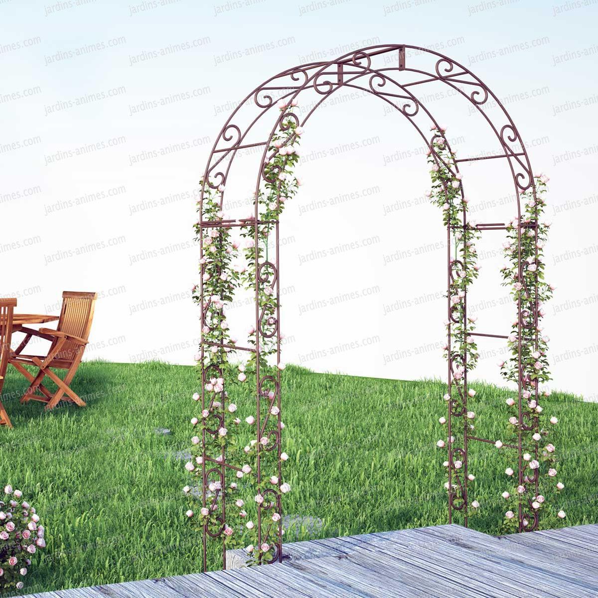 Arche De Jardin Arrondie En Acier Plein | Arche Jardin ... serapportantà Arche En Fer Forgé Pour Jardin