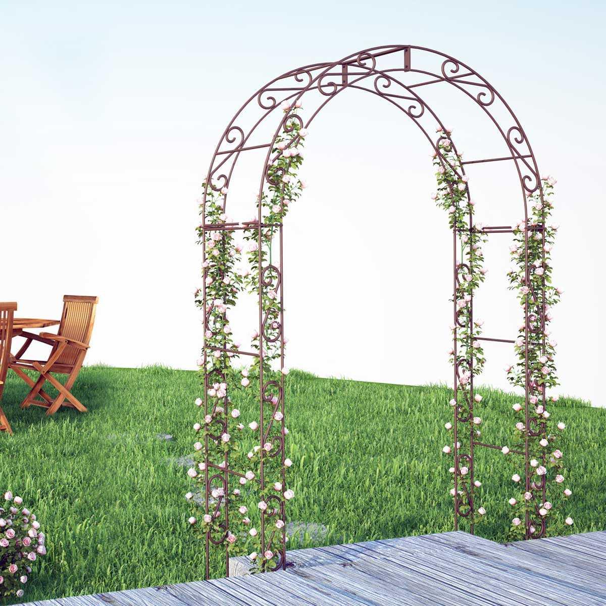 Arche De Jardin Arrondie En Acier Plein intérieur Arche De Jardin Avec Portillon