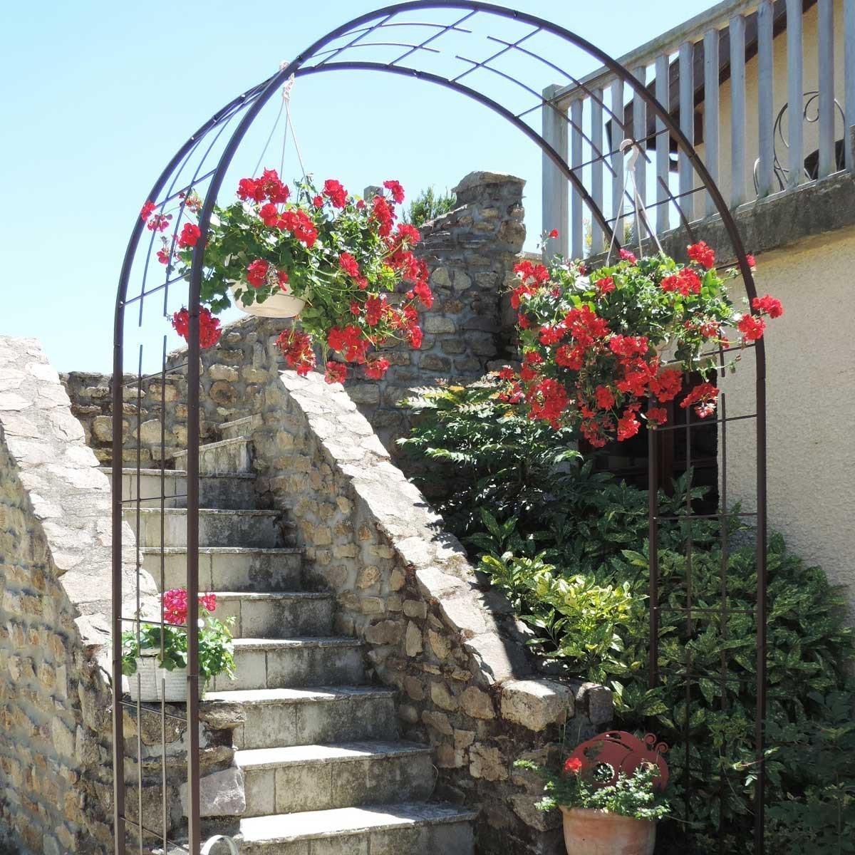 Arche De Jardin Treillage En Fer Grand Modèle + 4 Supports À ... serapportantà Arche De Jardin Pas Cher