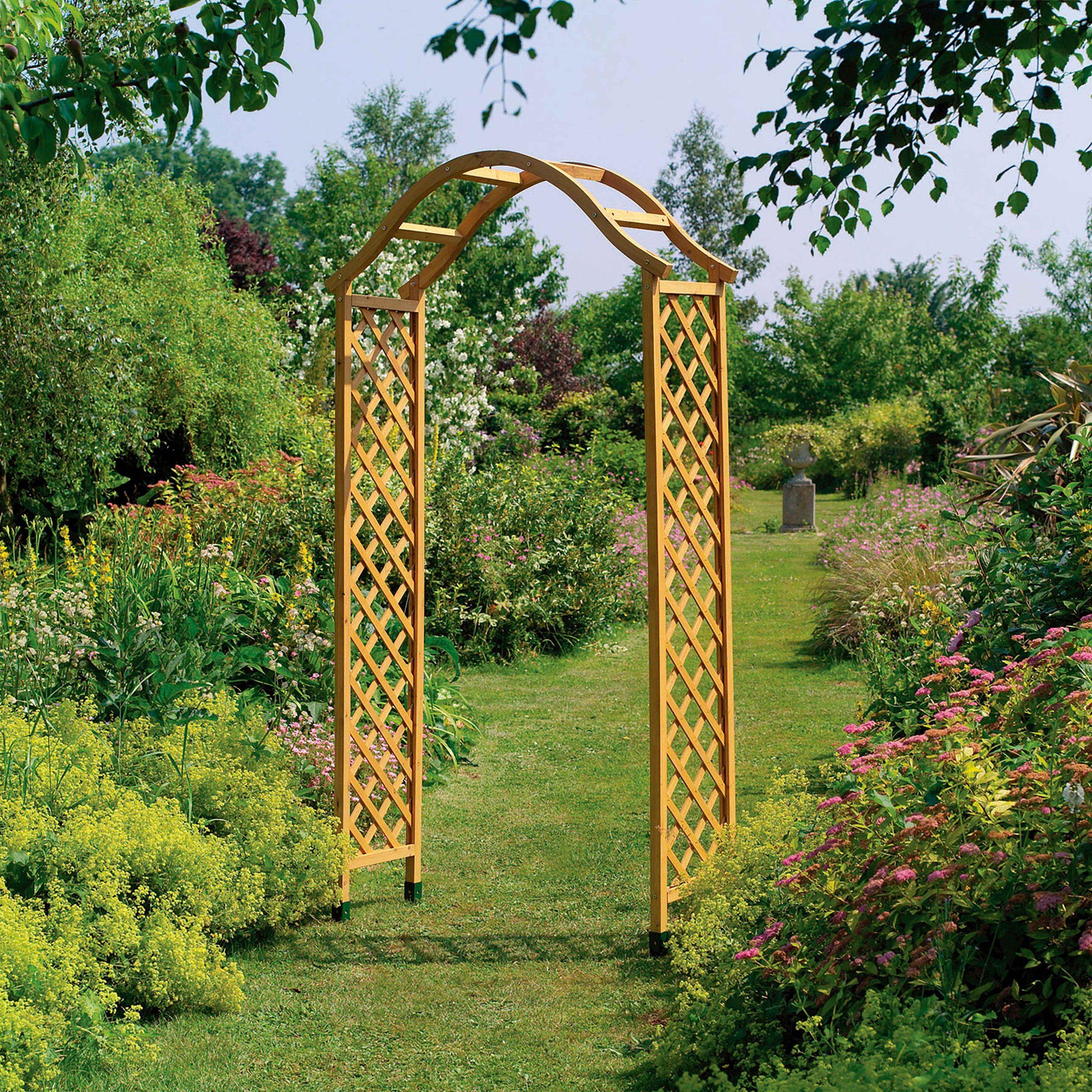 Arche De Jardin Treillis Bois H:2.2M intérieur Arche Jardin Bois
