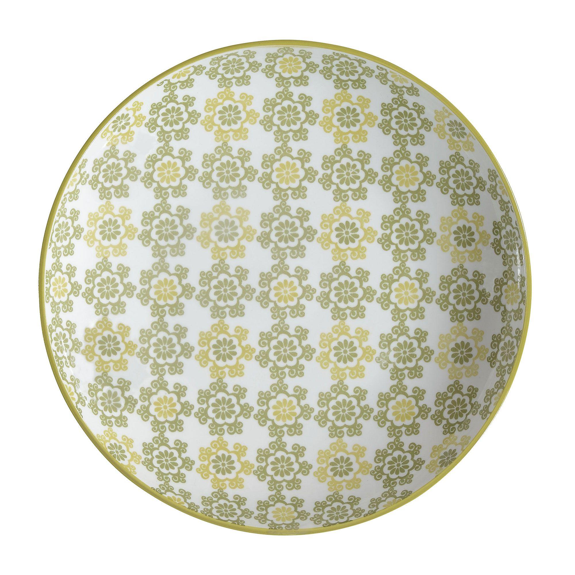 Assiette Plate En Céramique Ronde Végétaux Kaki / Vert Clair ... avec Assiette Jardin D Ulysse