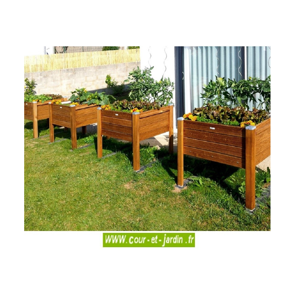 Bac À Fleurs En Bois Sur Pieds . Bac À Plantes De 90Cm X 50 ... pour Bac De Jardin En Bois