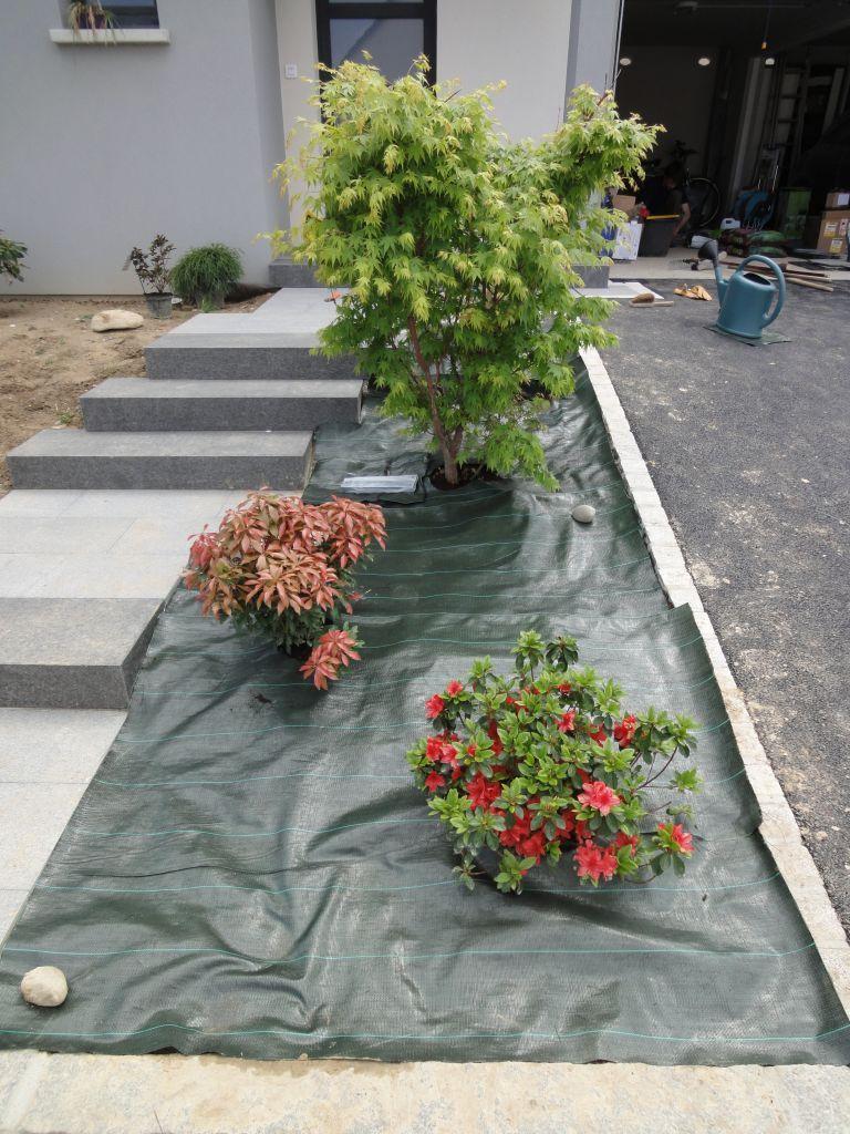 Bache Permeable En Place Pour Eviter La Pousse Des Mauvaises ... encequiconcerne Bache Mauvaise Herbe Jardin