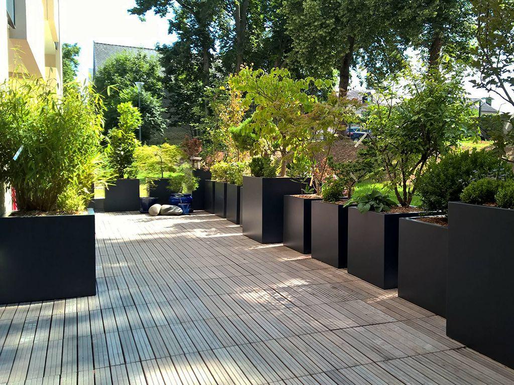 Bacs À Plantes Pour Aménager Une Terrasse | Aménagement ... intérieur Jardinieres Beton Pour Jardin