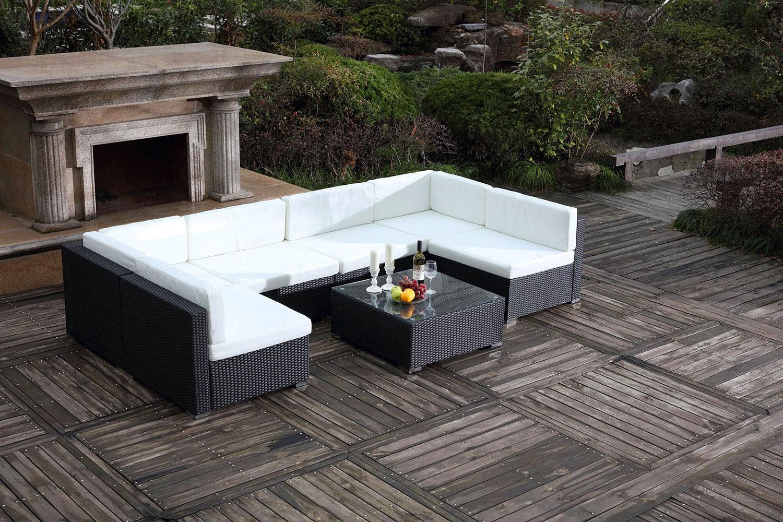 Bahru Noir/blanc pour Salon De Jardin 6 Personnes